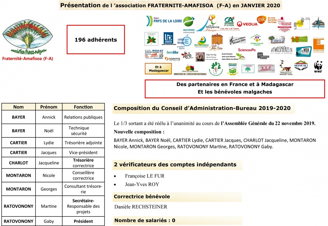 l'association Fraternité-Amafisoa ( F-A) 2019-2020